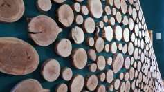 Rondelles de bois décoratives, plaquettes de parement en bois, plaquettes bois décoratives, mur en rondins de bois, Woodline Menuiserie Anthony Hablot