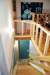 Woodline Menuiserie Anthony Hablot, Menuisier Charpentier dans le Val-de-Ruz, Suisse - création d'une rambarde, coin bureau pour mezzanine