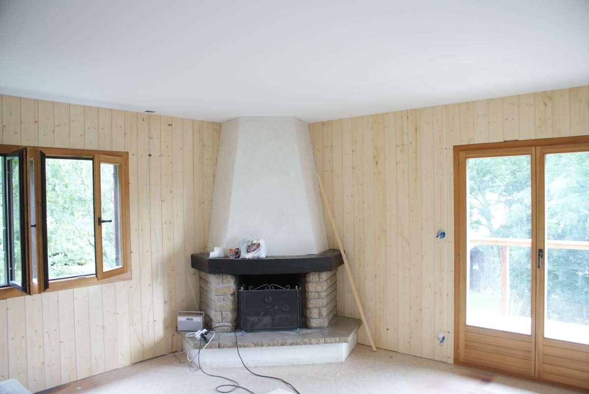 Woodline Menuiserie Anthony Hablot, Menuisier Charpentier du Val-de-Ruz, Neuchâtel, Suisse, pose de lambris brut, lambris brut, lambris pin raboté, lambris rustique